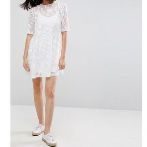 ‼️NWT‼️ASOS white mini lace smock dress | size 0